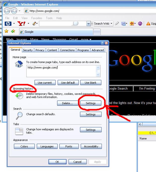 Internet Options Settings window