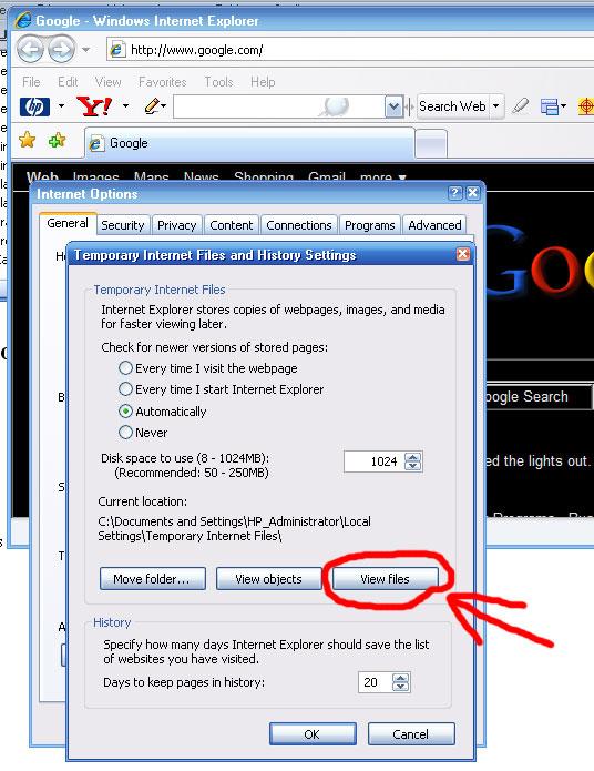 Internet Options Settings View